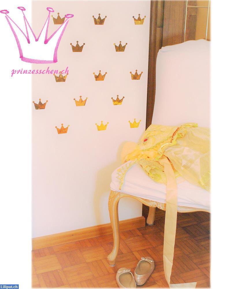 Wandtattoo Sticker Kinderzimmer Prinzessin Dekoration Krone Gold